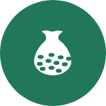 A round green icon with one large pouch in the middle that has small grains inside it