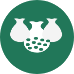 A round green icon with three large pouches in the middle