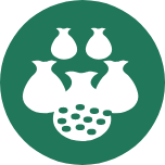 A round green icon with three large pouches at the front and two smaller pouches at the back