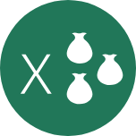 A round green icon with an X on the left and three pouches on the right