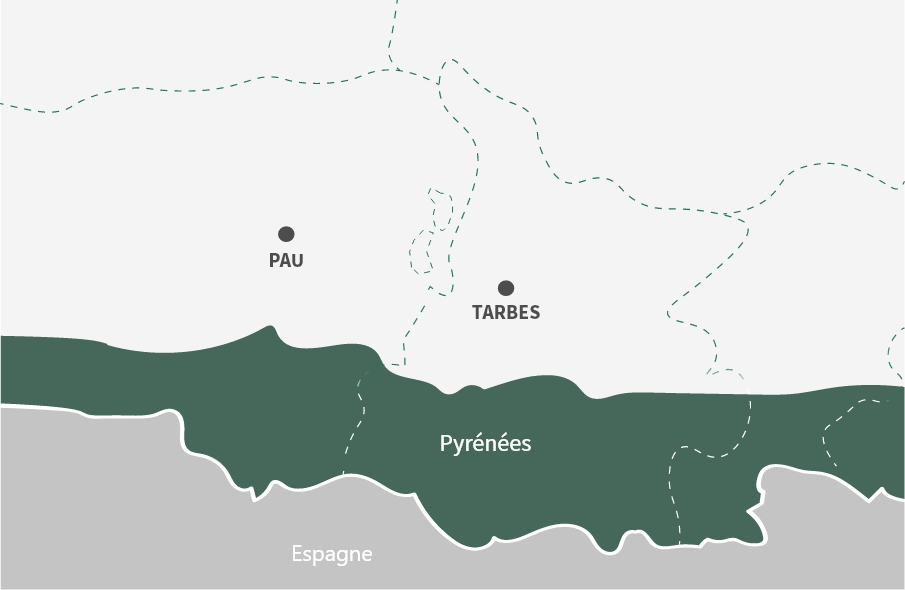 Map of farmers locations in proximity of the Pyrenees